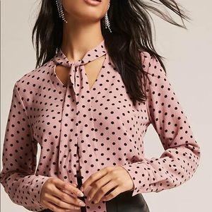 Forever 21 polka dot neck tie blouse